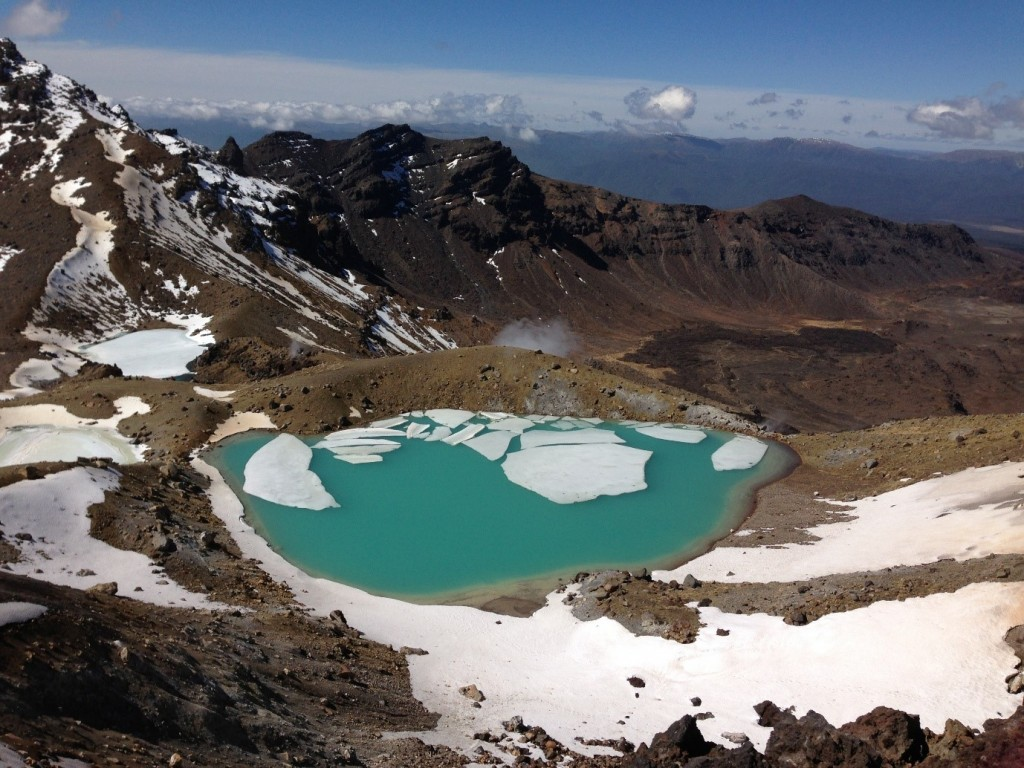 Ice on the lakes of the Tongariro Crossing